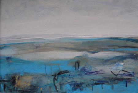 Abstract, landscape, mixed media.