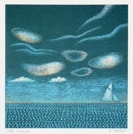 High clouds, sea, yacht, silk screen.