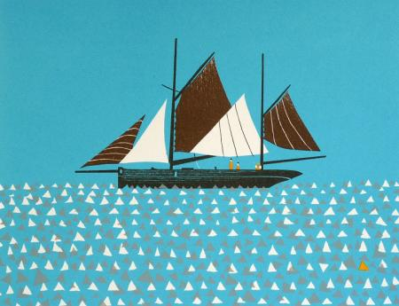 Five sail boat, figures, silk screen.