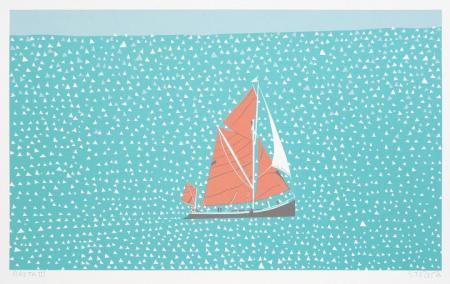 Boat, in sail, silk screen.