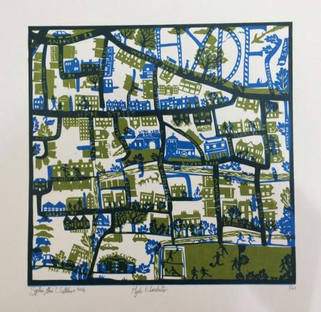Hand made map, hyde, winchester, silk screen.