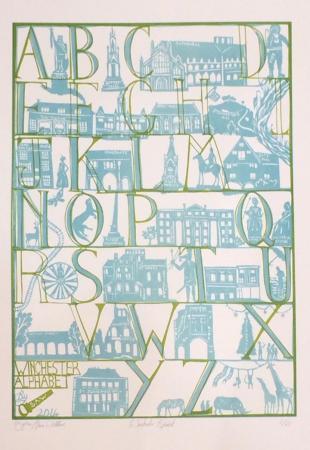 Alphabet over winchester landmarks, silk screen.