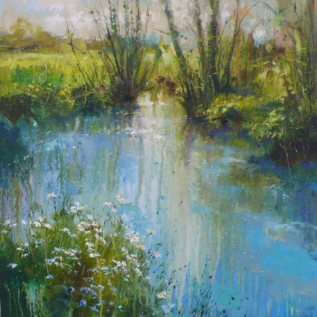 Spring flowers, riverbank, mixed media.