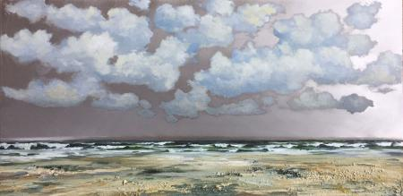 Looking to sea, fluffy clouds, aluminium, mixed media.